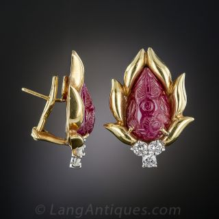Carved Ruby and Diamond Earrings