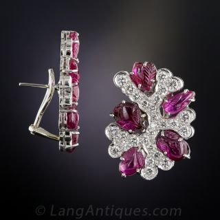 Carved Ruby, Diamond and Platinum Ear Clips