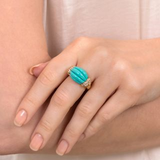 Carved Turquoise And Diamond Ring