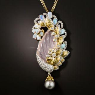 Christian Bernard Rose Quartz, Opal, Diamond and Pearl Necklace - 3