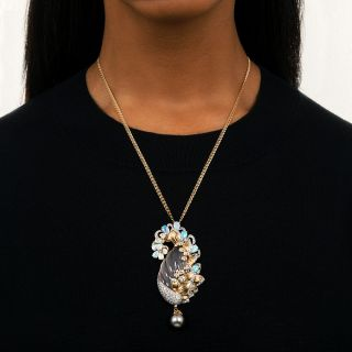 Christian Bernard Rose Quartz, Opal, Diamond and Pearl Necklace