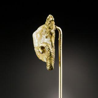 Circa 1900 Dragon Pearl Stick Pin by Walton & Co.
