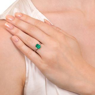 Classic 1.30 Carat Colombian Emerald and Diamond Ring
