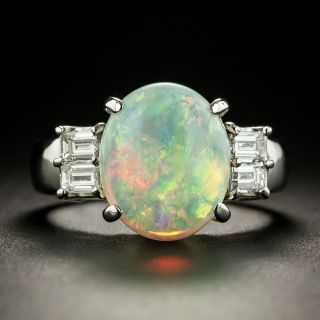 Classic 3.36 Carat Opal and Diamond Ring - 3