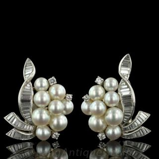 Classic Cultured Pearl and Diamond Earrings - 1