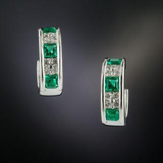 Classic Diamond and Emerald Hoop Earrings - 3