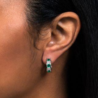 Classic Diamond and Emerald Hoop Earrings