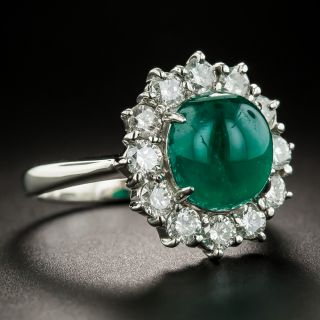 Colombian Cabochon Emerald and Diamond Halo Platinum Ring