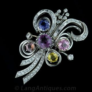 Colorful Fancy Sapphire and Diamond Pin in Platinum - 1