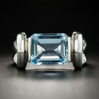 Contemporary 2.85 Carat Aquamarine and Diamond Ring - 1
