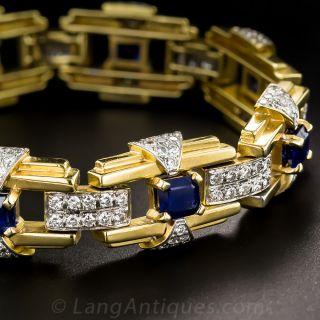 Contemporary Art Deco Style Sapphire and Diamond Bracelet - 1