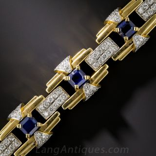 Contemporary Art Deco Style Sapphire and Diamond Bracelet