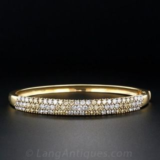 Contemporary Fancy Yellow and White Diamond Bangle