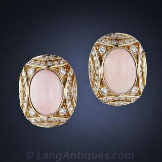 Coral and Diamond Earrings - 1