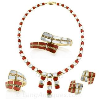 Coral and Mother of Pearl Necklace, Bracelet and Earring Suite - 1