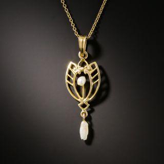 Delicate Art Nouveau Pearl Pendant - 2