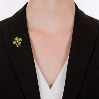 Demantoid and Diamond Four Leaf Clover Pin