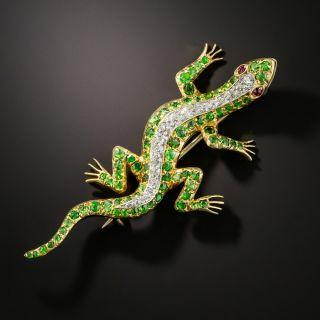 Demantoid Garnet and Diamond Salamander Brooch  - 1