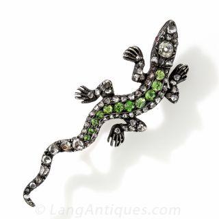 Diamond and Demantoid Salamander Brooch - 1
