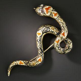 Diamond and Enamel Snake Brooch - 2