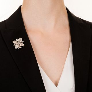 Diamond and  Platinum Flower Clip Pin