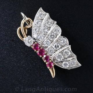 Diamond and Ruby Butterfly Pin - 1