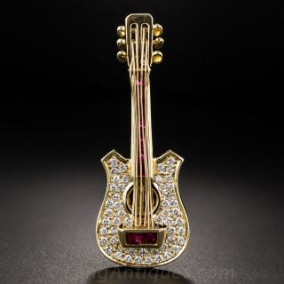 Diamond and Ruby Guitar Brooch - 3