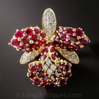 Diamond and Ruby Orchid Brooch