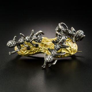 Diamond Ants on Peanut Brooch
