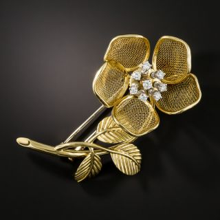 Diamond Flower Brooch with Articulated Petals