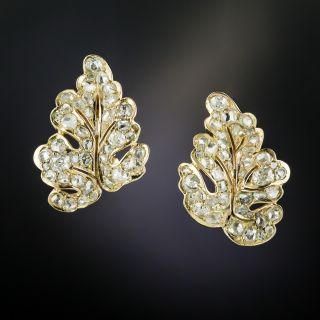 Diamond Leaf Motif Earrings - 2