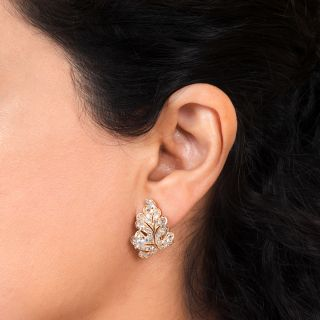 Diamond Leaf Motif Earrings
