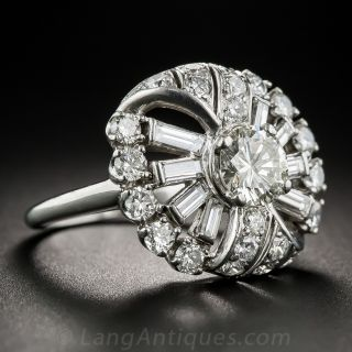 Mid-Century Platinum and Diamond Cocktail Ring