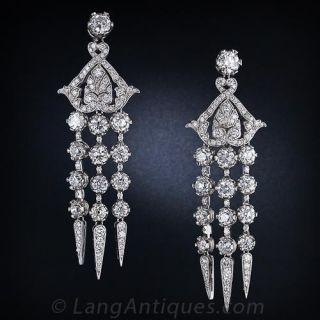 Diamond Platinum Edwardian Style Chandelier Earrings - 1