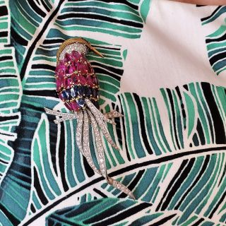 Diamond, Ruby, Sapphire and Emerald Bird of Paradise Brooch