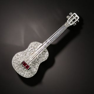 Diamond, Sapphire  and Ruby Guitar Brooch - 3