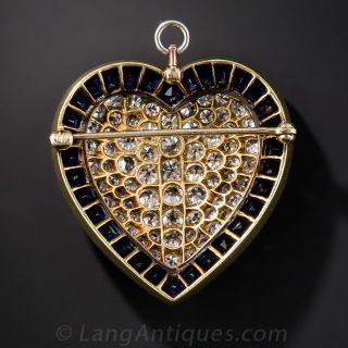 Diamond Sapphire Platinum Heart Pin / Pendant
