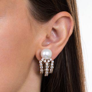 Diamond, South Sea Pearl, 18K Yellow Gold Ear Clips