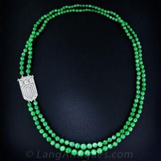 Double-Strand Jade Bead Necklace with Art Deco Diamond Clasp