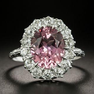 Early 20th Century 3.51 Carat Pink Tourmaline and Diamond Ring - 1