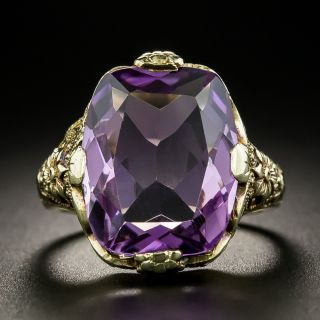 Early 20th Century 6.85 Carat Amethyst Floral Ring - 3
