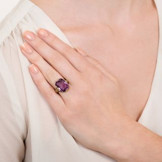 Early 20th Century 6.85 Carat Amethyst Floral Ring
