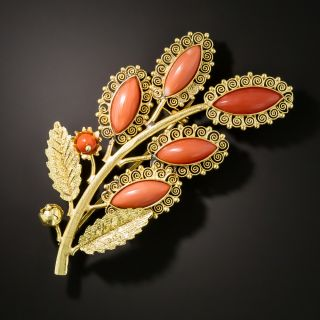 Early 20th Century Coral Foliate Brooch - 3