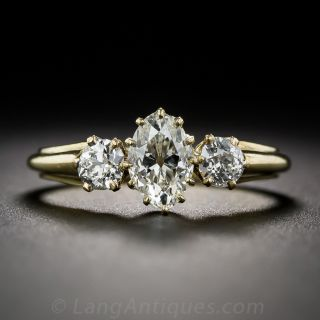 Early 20th Century English Marquise Diamond Three-Stone Engagement Ring - 1
