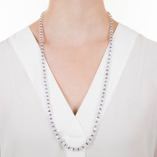 Early-20th Century Moonstone and Amethyst Bead Necklace