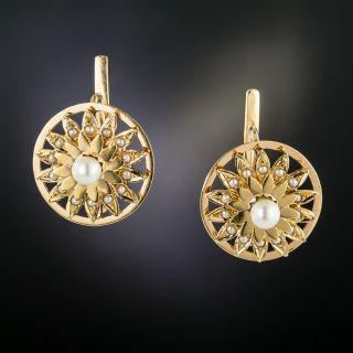 Early 20th Century Pearl Sunflower Earrings - 3