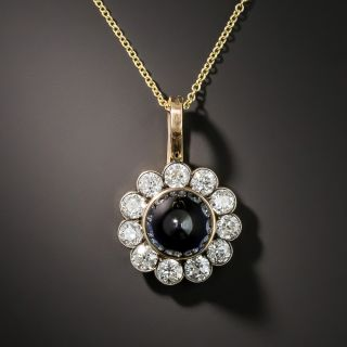 Early 20th Century Russian Bullet Sapphire and Diamond Drop
