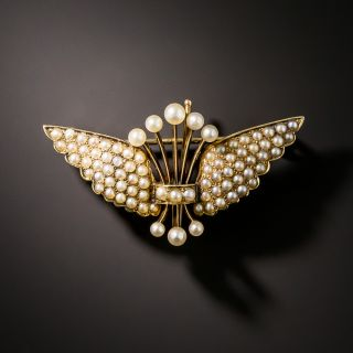 Early 20th Century Seed Pearl Winged Pin - 3
