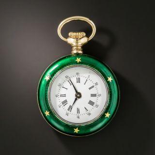 Early 20th Century Sterling Silver Green Guilloché Enamel Pendant Watch