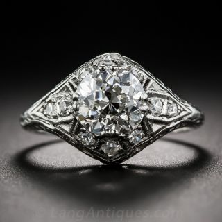 Early-Art Deco 1.57 Carat Diamond Engagement Ring - GIA H VS2 - 1